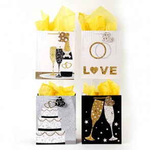 FLOMO Classic Tall Bubbly Wishes Wedding Gift Bags - Assorted