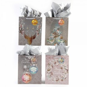 "FLOMO Large ""Christmas Sophistication"" Hologram Foil Gift Bags"