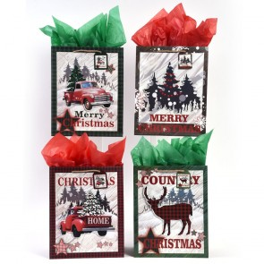 "Large ""Lodge Christmas"" Pickup Truck Pop Layer Gift Bags by FLOMO"
