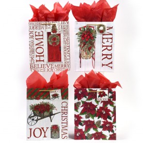 """Large Classic """"Poinsettia Christmas"""" Gift Bags by FLOMO"""