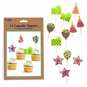 Party Hot Stamp Cupcake Toppers by FLOMO