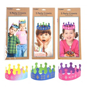 Rainbow Ombre and Bright Colors Party Crowns with Glitter by FLOMO