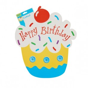 Blue Birthday Cupcake Double Sided Cutout by FLOMO