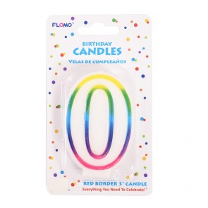 """FLOMO 3"""" OMBRE BIRTHDAY CANDLE - NUMBER """"0"""""""