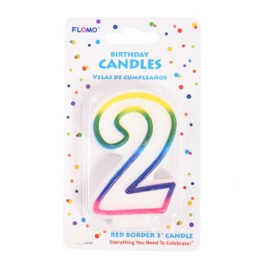 """FLOMO 3"""" OMBRE BIRTHDAY CANDLE - NUMBER """"2"""""""