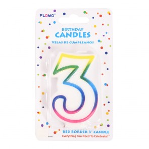 """FLOMO 3"""" OMBRE BIRTHDAY CANDLE - NUMBER """"3"""""""