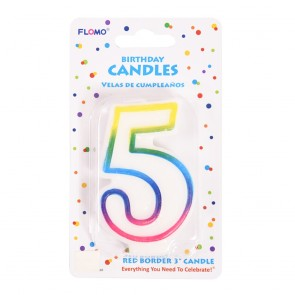 """FLOMO 3"""" OMBRE BIRTHDAY CANDLE - NUMBER """"5"""""""