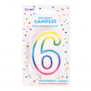 """FLOMO 3"""" OMBRE BIRTHDAY CANDLE - NUMBER """"6"""""""