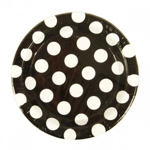 Black & White Polka Dot Round Plates - 9""