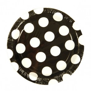 Black & White Polka Dot Round Plates - 7""