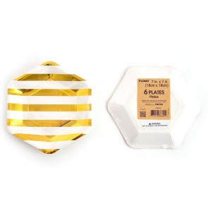 """Gold Stripe Hexagon Hot Stamp Party Plates - 7"""""""