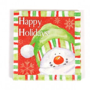 Happy Holidays Printed Snowman Luncheon Napkins