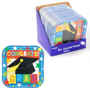 "9"" Square Graduation Printed Plates"