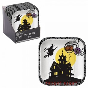FLOMO Halloween Haunted House Square Plates