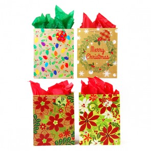 Narrow Medium Yuletide Flowers Gift Bags - Assorted