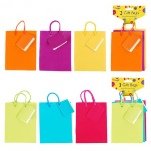 3 Pack Small Bright Gift Bags - Assorted