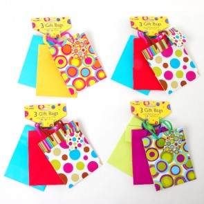 Small 3 Pk Printed and Solid Color Gift Bags
