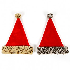 Santa Hat with Animal Printed Cuff