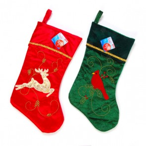 Embroidered Velvet Christmas Stocking