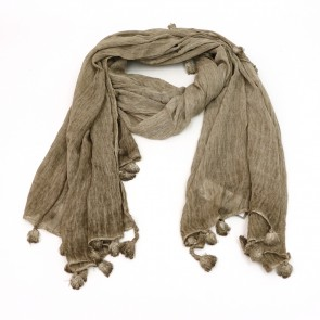 Heathered Stripes Scarf with Tassels - Brown by Saro Lifestyle