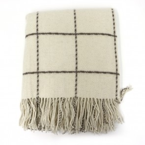 Geometric Square Design Throw with Fringe - Ivory by Saro Lifestyle