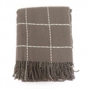 Geometric Square Design Throw with Fringe - Natural by Saro Lifestyle