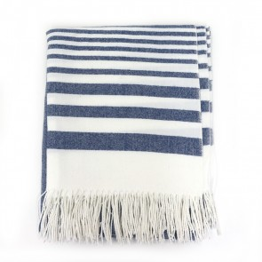 Striped Throw with Fringe - Navy by Saro Lifestyle