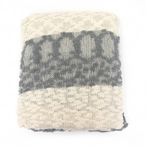 Nubby Pompom Striped Throw with Tassels - Gray by Saro Lifestyle