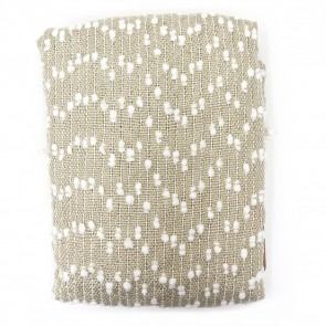 Petite Pompom Throw - Tan/White by Saro Lifestyle