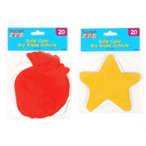 Solid Color Fun Shaped Dry Erase Cutouts