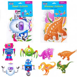 Dinosaur and Robot Cut Out Decorations