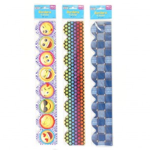 Teacher Building Blocks Trendy Border Strips - Emoji, Rainbow Polka Dot, Denim Check