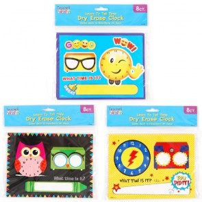 Teacher Building Blocks Dry Erase Clock - Owl, Smiley Face, Superhero
