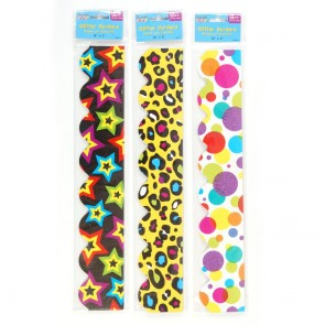 Teacher Building Blocks Trendy Glitter Border Strips - Stars, Polka Dots, Leopard