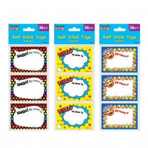 Teacher Building Blocks Self Stick Name Tags - Rainbow Polka Dot, Emoji, Superhero