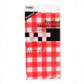 Red Checkered Rectangular Table Cover