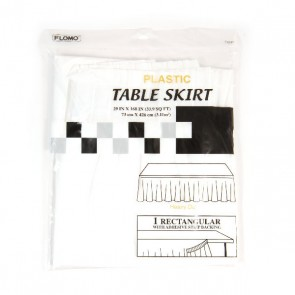 White Rectangular Table Skirt