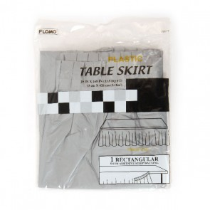 Silver Rectangular Table Skirt