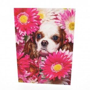 Cocker Spaniel with Flowers Card