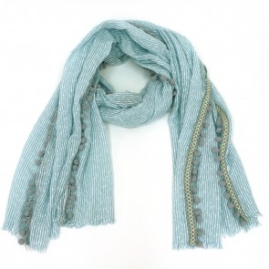 Soft Striped Pom Pom Women's Scarf - Teal Blue by Tickled Pink