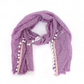 Soft Striped Pom Pom Women's Scarf - Purple by Tickled Pink