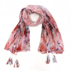 Floral Escape Tassel Women's Scarf - Pink by Tickled Pink