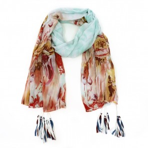 Floral Escape Tassel Women's Scarf - Mint Green by Tickled Pink