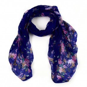 Navy Vibrant Flowers Insect Shield Scarf by Tickled Pink