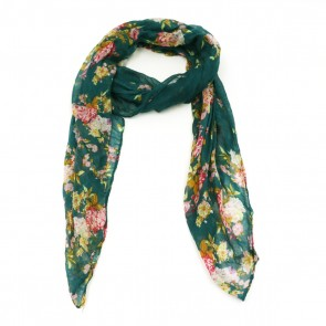 Vibrant Flowers Insect Shield Women's Summer Scarf - Green by Tickled Pink