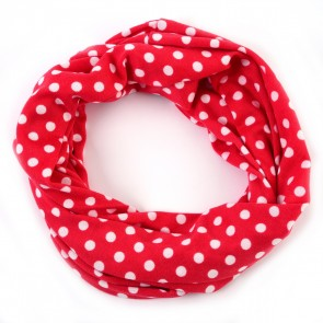 Coral Pink Playful Polka Dot Infinity Scarf by Tickled Pink