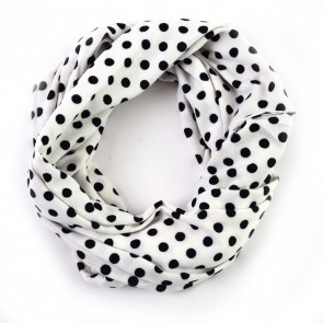 White and Black Playful Polka Dot Infinity Scarf by Tickled Pink