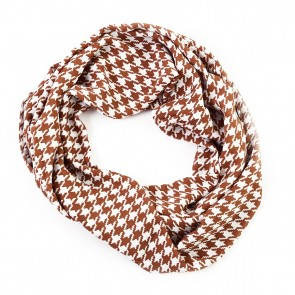 Beige Houndstooth Infinity Scarf by Tickled Pink