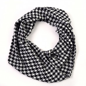 Black Houndstooth Infinity Scarf by Tickled Pink