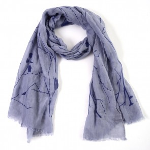 Periwinkle Blue Branches and Leaves Insect Shield Scarf by Tickled Pink